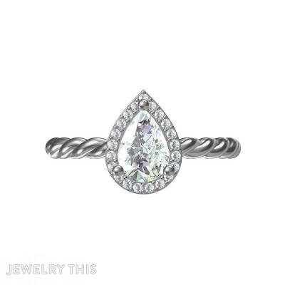 Pear Drop Halo-Rope Ring, Rings, Engagement