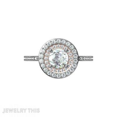 Double Round Halo Diamond, Rings, Engagement