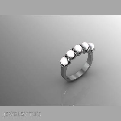 5 Pearl Ring, Rings, Fashion