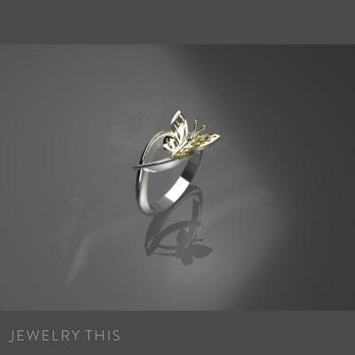 Stylish Gold Butterfly, Rings, Crossover