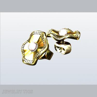 Gold, Diamonds, And Pearls, Earrings, Stud (Post)
