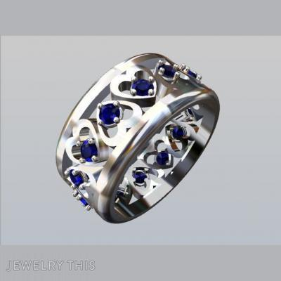 Gold Heart Shape With Tanzanite, Rings, Eternity Band