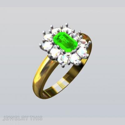 Gold, Diamonds And Emerald, Rings, Fashion