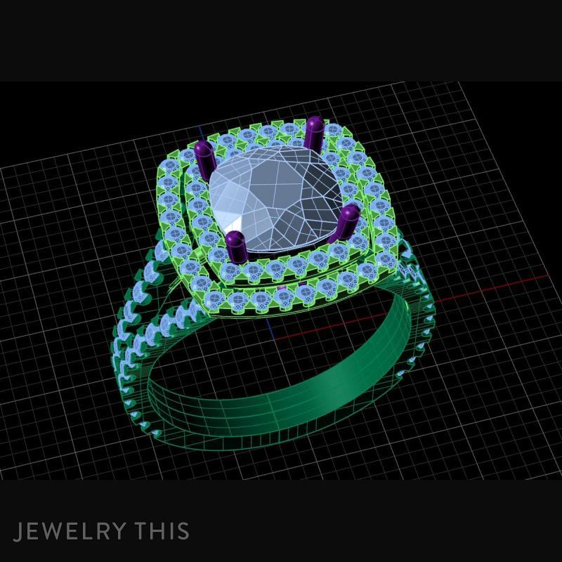 3D Jewelry Design: Cushion Double Halo » Jewelrythis