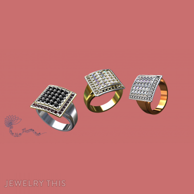 Square Pave, Rings, Wedding