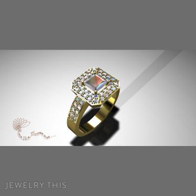 Radiant Cut Stone, Rings, Wedding