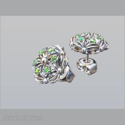 Gold And Green Garnet, Earrings, Stud (Post)