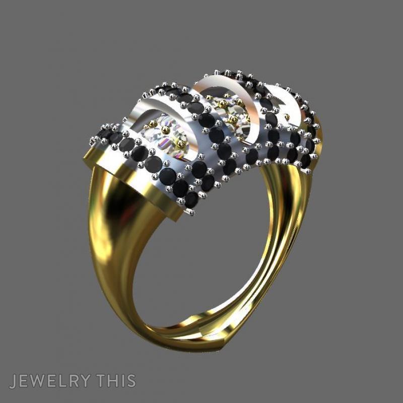 Gold And Diamond Layered, Rings, Fashion