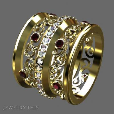 Floral Gold And Ruby, Rings, Fashion