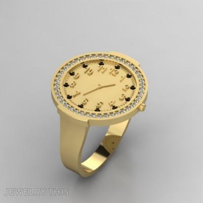 Golden Clock, Rings, Fashion