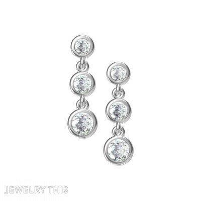3-Diamond, Earrings, Chandelier (Dangle)