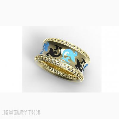 Gold, Enamel And Diamond, Rings, Concave
