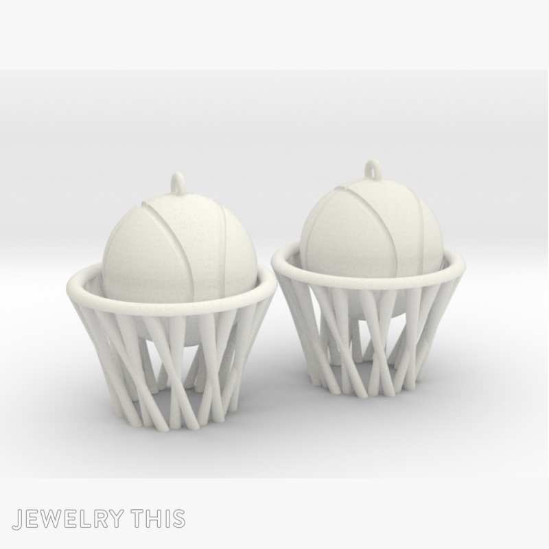 Basketball, Earrings, Drop, image 2
