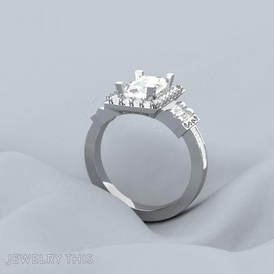 Baguette Halo, Rings, Engagement