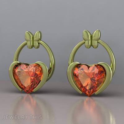 Butterfly And Heart, Earrings, Stud (Post)