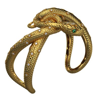 Cuff Bracelet with Intertwining Snakes