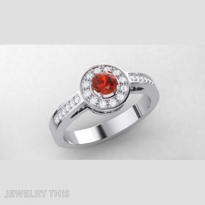 Citrine Halo Ring, Rings, Fashion