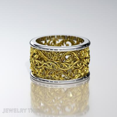 Floral Width Wedding Ring, Rings, Wedding