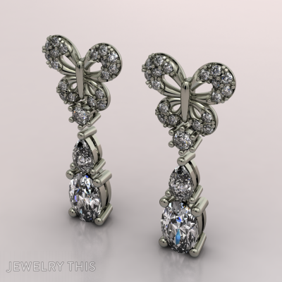 Butterfly, Earrings, Drop