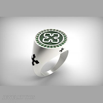 Ring Signet 28 Emerald, Rings, Signet