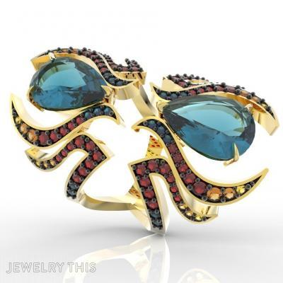 Ring Double Fire Flames, Rings, Fashion