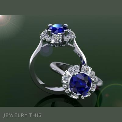 Art Deco Cluster Style Ring., Rings, Engagement