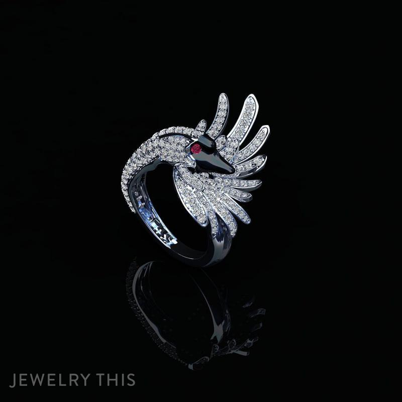 Swan Ring, Rings, Cocktail, image 2