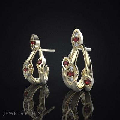 Earrings Delicate Leaves 3, Earrings, Stud (Post)