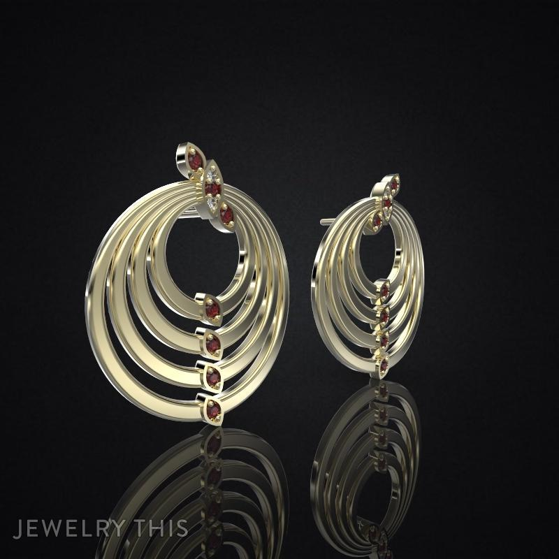 3D Jewelry Design: Earrings Delicate Leaves 2 » Jewelrythis
