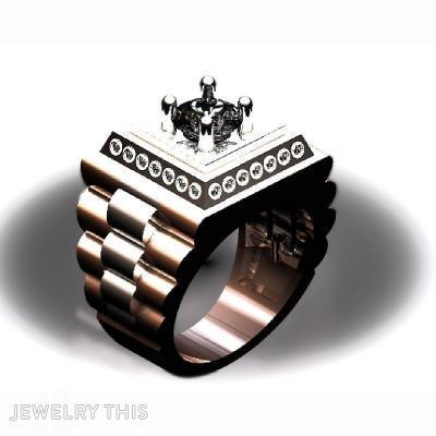 Mens 2 Tone Diamond Ring, Rings, Signet