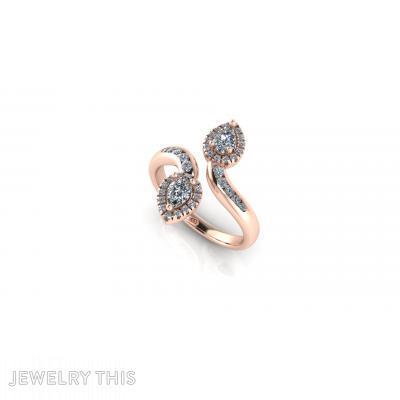 Diamonds Leaves Engagement Rin, Rings, Engagement