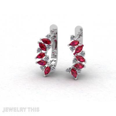 Marquise Diamond Gems Earrings, Earrings, Huggies