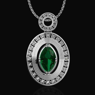 Oval Pendant With Gems, Pendants, General