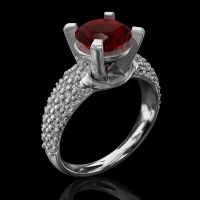Solitaire Ring With Red Gem, Rings, Engagement