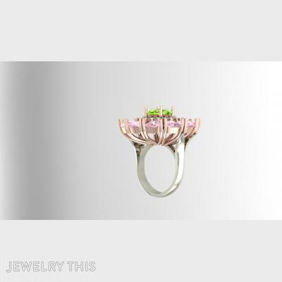 Flower Cocktail Ring With Trilliant Stones, Rings, Cocktail