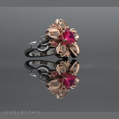 Floral Ring Size~N, Rings, Cocktail