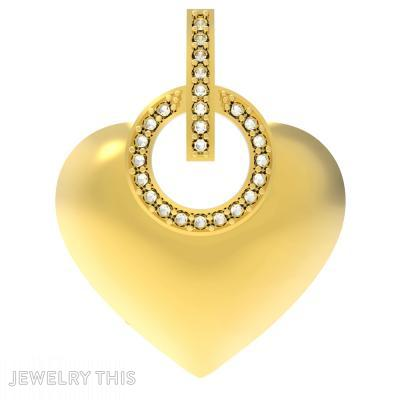 Diamond Circle Heart Pendent, Pendants, General