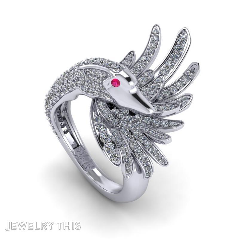 Swan Ring, Rings, Cocktail