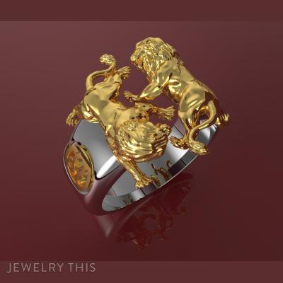 Lion Ring Mens, Rings, Men's