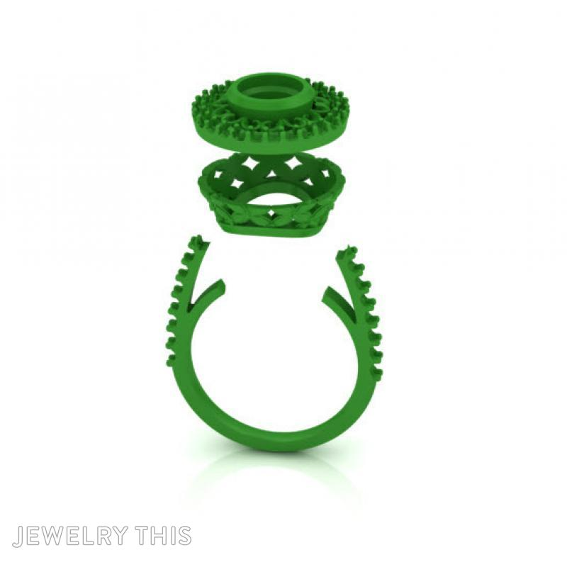 Dress Ring With Scallop Halo, Rings, Cocktail, image 2