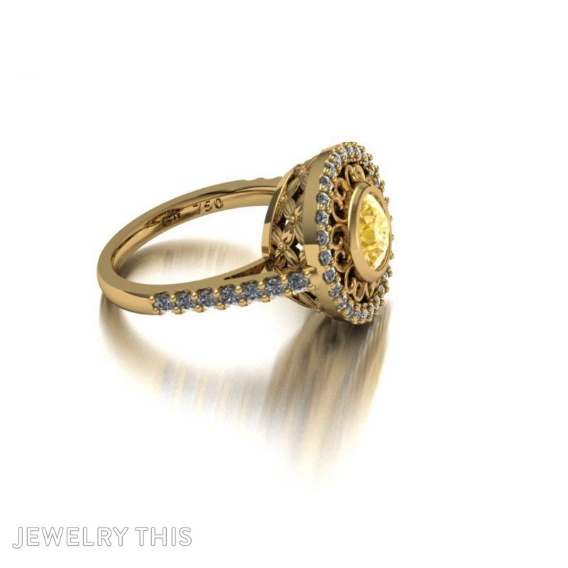 Dress Ring With Scallop Halo, Rings, Cocktail, image 3