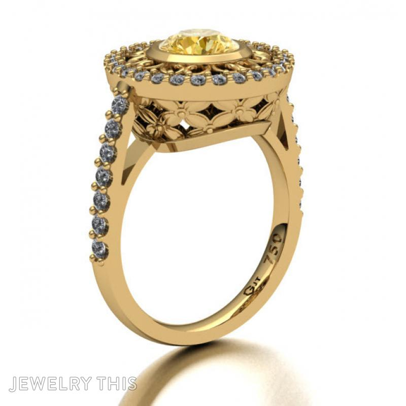 Dress Ring With Scallop Halo, Rings, Cocktail, image 4