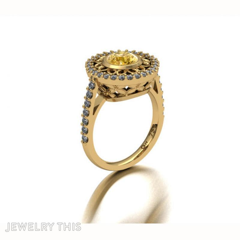 Dress Ring With Scallop Halo, Rings, Cocktail, image 5
