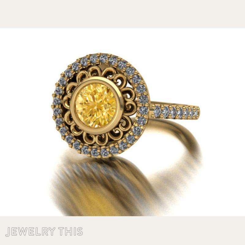 Dress Ring With Scallop Halo, Rings, Cocktail, image 6