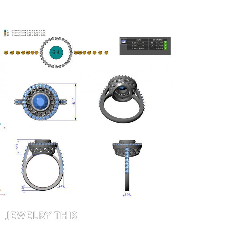 Dress Ring With Scallop Halo, Rings, Cocktail, image 7