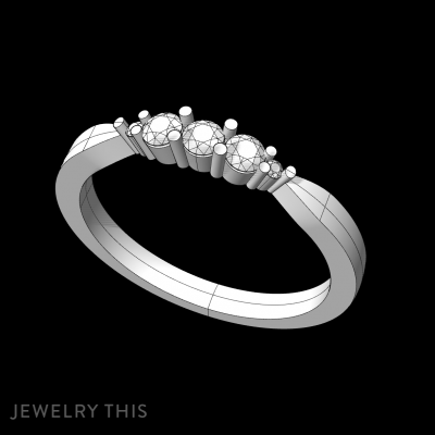 5 Stone Ring With Shared Claw, Rings, Engagement