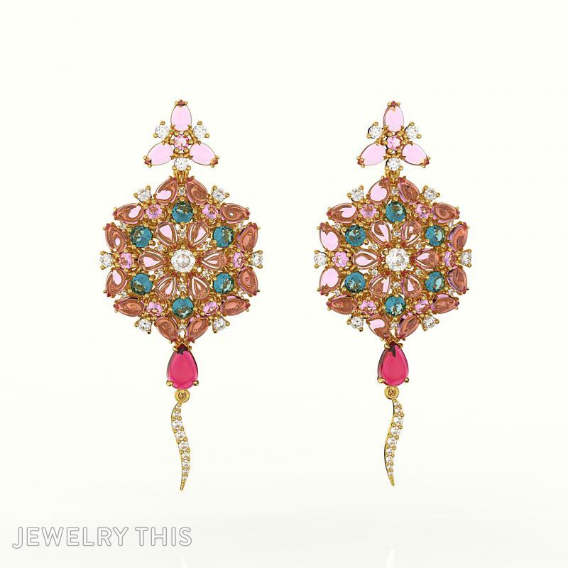 Earring Fusion Flowers Full Jewelry Cad Model