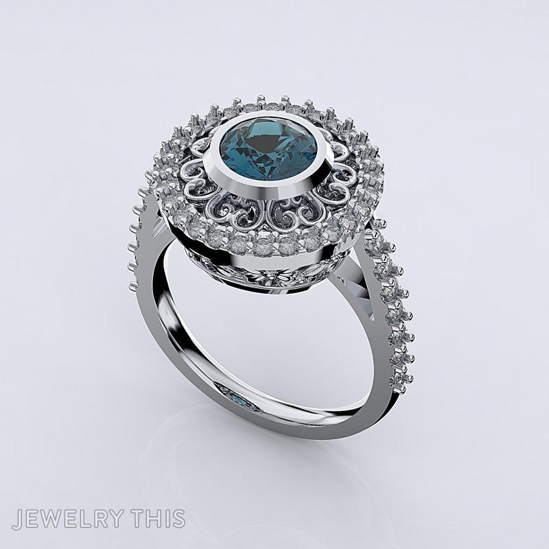 Dress Ring With Scallop Halo, Rings, Cocktail