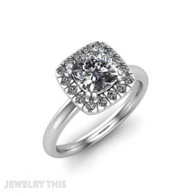 Cushion Halo Diamond Engagement Ring, Rings, Engagement