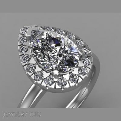 Pear Shaped Halo Engagement Ring, Rings, Engagement